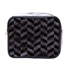 Chevron1 Black Marble & Black Watercolor Mini Toiletries Bags by trendistuff