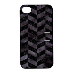 Chevron1 Black Marble & Black Watercolor Apple Iphone 4/4s Hardshell Case With Stand by trendistuff