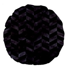 Chevron1 Black Marble & Black Watercolor Large 18  Premium Flano Round Cushions by trendistuff