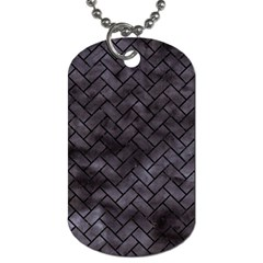 Brick2 Black Marble & Black Watercolor (r) Dog Tag (one Side) by trendistuff