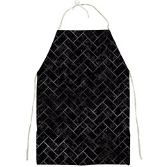 Brick2 Black Marble & Black Watercolor Full Print Aprons by trendistuff