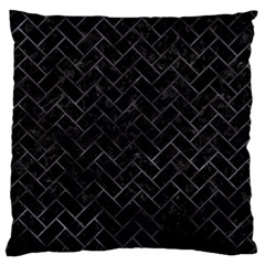 Brick2 Black Marble & Black Watercolor Large Cushion Case (one Side) by trendistuff