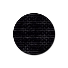 Brick1 Black Marble & Black Watercolor Rubber Round Coaster (4 Pack)  by trendistuff