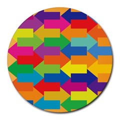 Arrow Rainbow Orange Blue Yellow Red Purple Green Round Mousepads by Mariart