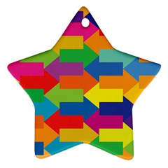 Arrow Rainbow Orange Blue Yellow Red Purple Green Ornament (star) by Mariart