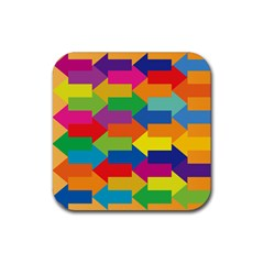 Arrow Rainbow Orange Blue Yellow Red Purple Green Rubber Coaster (square)