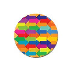 Arrow Rainbow Orange Blue Yellow Red Purple Green Magnet 3  (round) by Mariart