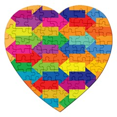 Arrow Rainbow Orange Blue Yellow Red Purple Green Jigsaw Puzzle (heart) by Mariart