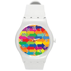 Arrow Rainbow Orange Blue Yellow Red Purple Green Round Plastic Sport Watch (m)