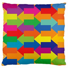 Arrow Rainbow Orange Blue Yellow Red Purple Green Large Cushion Case (two Sides) by Mariart