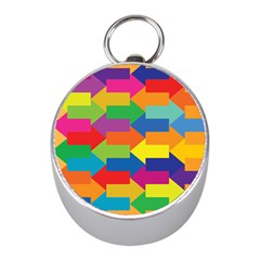 Arrow Rainbow Orange Blue Yellow Red Purple Green Mini Silver Compasses by Mariart