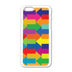 Arrow Rainbow Orange Blue Yellow Red Purple Green Apple Iphone 6/6s White Enamel Case