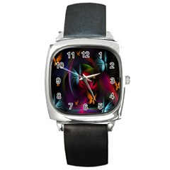 Beautiful Butterflies Rainbow Space Square Metal Watch by Mariart