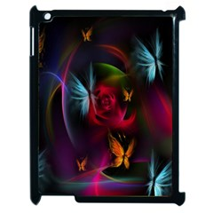 Beautiful Butterflies Rainbow Space Apple Ipad 2 Case (black) by Mariart
