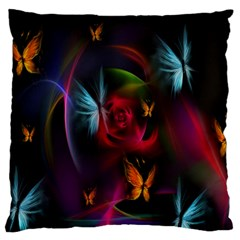Beautiful Butterflies Rainbow Space Large Flano Cushion Case (two Sides) by Mariart