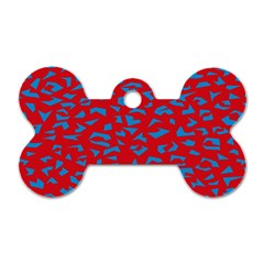 Blue Red Space Galaxy Dog Tag Bone (one Side) by Mariart