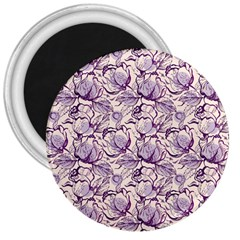 Vegetable Cabbage Purple Flower 3  Magnets