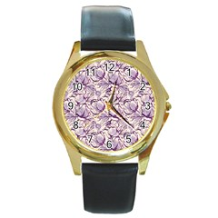 Vegetable Cabbage Purple Flower Round Gold Metal Watch by Mariart