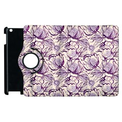 Vegetable Cabbage Purple Flower Apple Ipad 3/4 Flip 360 Case by Mariart