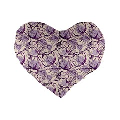 Vegetable Cabbage Purple Flower Standard 16  Premium Flano Heart Shape Cushions by Mariart