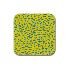 Blue Yellow Space Galaxy Rubber Coaster (square)