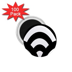 Circle White Black 1 75  Magnets (100 Pack)