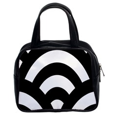 Circle White Black Classic Handbags (2 Sides) by Mariart
