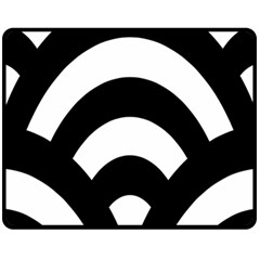 Circle White Black Fleece Blanket (medium)  by Mariart