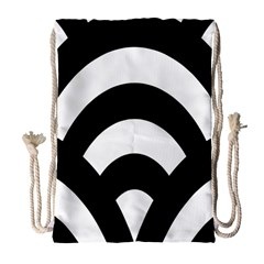 Circle White Black Drawstring Bag (large) by Mariart