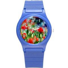 Colorful Flowers Round Plastic Sport Watch (s) by Mariart