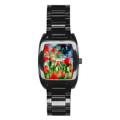 Colorful Flowers Stainless Steel Barrel Watch by Mariart