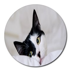 Cat Face Cute Black White Animals Round Mousepads by Mariart
