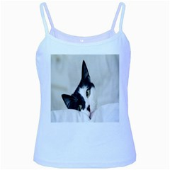 Cat Face Cute Black White Animals Baby Blue Spaghetti Tank by Mariart