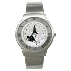Cat Face Cute Black White Animals Stainless Steel Watch