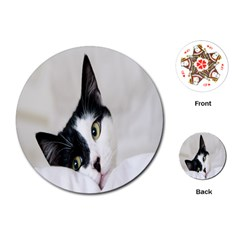 Cat Face Cute Black White Animals Playing Cards (round)  by Mariart