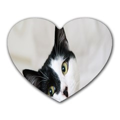 Cat Face Cute Black White Animals Heart Mousepads by Mariart