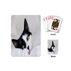 Cat Face Cute Black White Animals Playing Cards (mini)