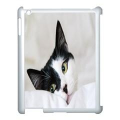 Cat Face Cute Black White Animals Apple Ipad 3/4 Case (white) by Mariart