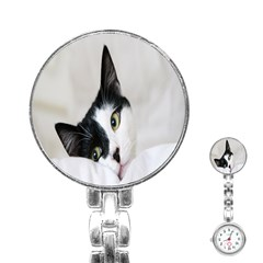 Cat Face Cute Black White Animals Stainless Steel Nurses Watch