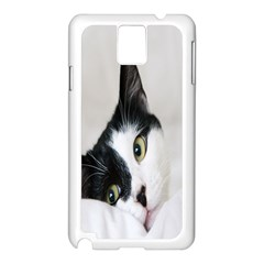 Cat Face Cute Black White Animals Samsung Galaxy Note 3 N9005 Case (white)