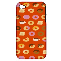 Coffee Donut Cakes Apple Iphone 4/4s Hardshell Case (pc+silicone) by Mariart