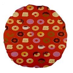 Coffee Donut Cakes Large 18  Premium Round Cushions by Mariart
