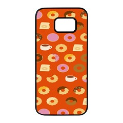 Coffee Donut Cakes Samsung Galaxy S7 Edge Black Seamless Case by Mariart