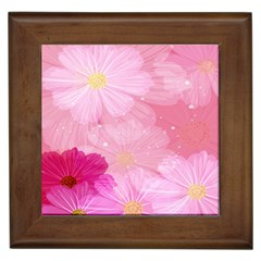 Cosmos Flower Floral Sunflower Star Pink Frame Framed Tiles by Mariart