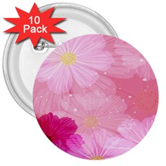Cosmos Flower Floral Sunflower Star Pink Frame 3  Buttons (10 Pack)  by Mariart