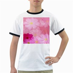 Cosmos Flower Floral Sunflower Star Pink Frame Ringer T-shirts by Mariart