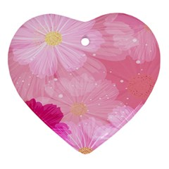 Cosmos Flower Floral Sunflower Star Pink Frame Heart Ornament (two Sides) by Mariart