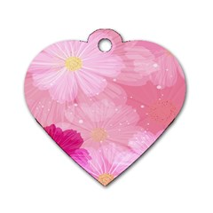 Cosmos Flower Floral Sunflower Star Pink Frame Dog Tag Heart (one Side) by Mariart