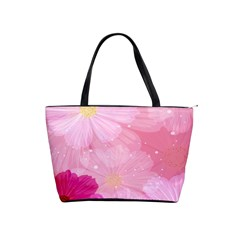 Cosmos Flower Floral Sunflower Star Pink Frame Shoulder Handbags by Mariart