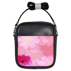Cosmos Flower Floral Sunflower Star Pink Frame Girls Sling Bags